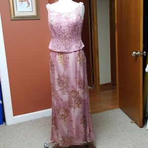 Jovani pink/gold beaded & sheer gown